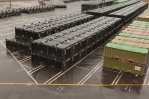 Patrick's specially designed containers stored at Port