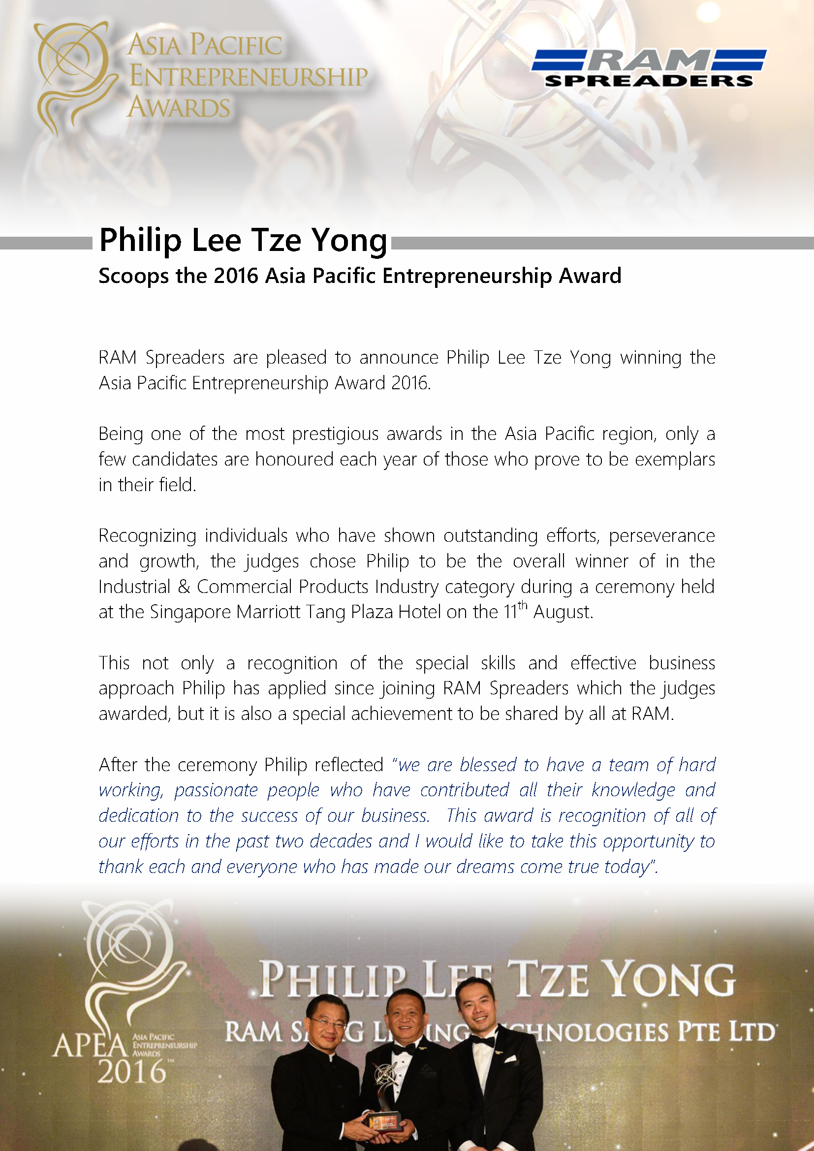 Philip Lee Tze Yong winner of APEA 2016 Award