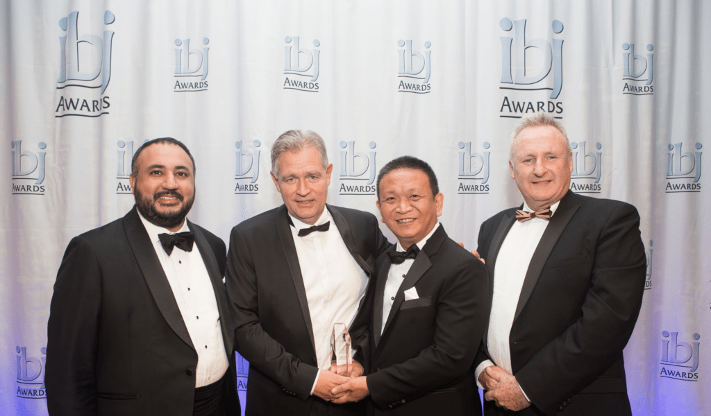 Pictured from left: Award Category Sponsor Angad Banga CEO of Caravel Group, Sebastian Henning Brandes Group CEO SMAG, Philip Lee CEO RAM Spreaders and Ray Girvan IBJ