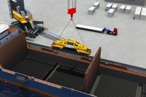 Pipe loading mobile harbour crane operation - RAM Spreaders