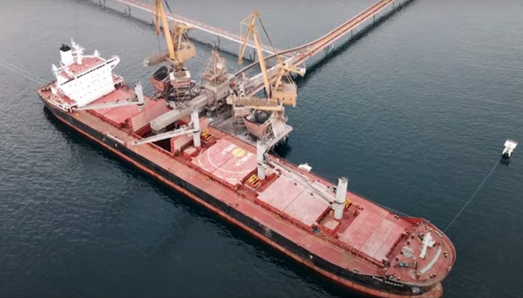 copper concentrate is loaded onto the port's ship loader