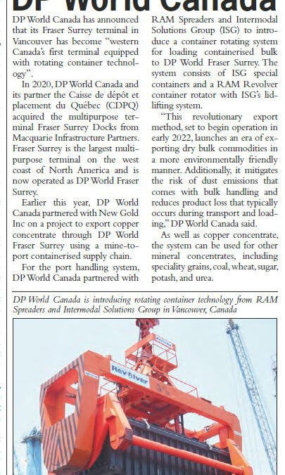 Article by World Cargo News on Containerised Bulk Handling